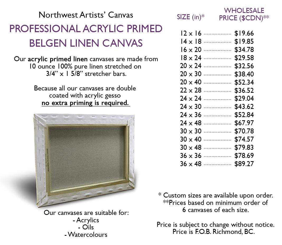 Acrylic Primed Linen Canvas Northwest Artists Canvas