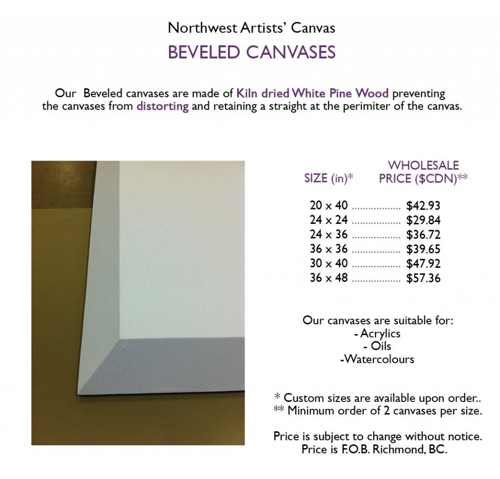 beveled canvas price list