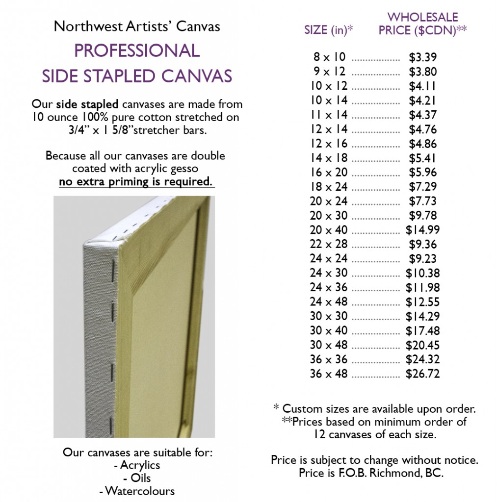 side stapled canvas price list