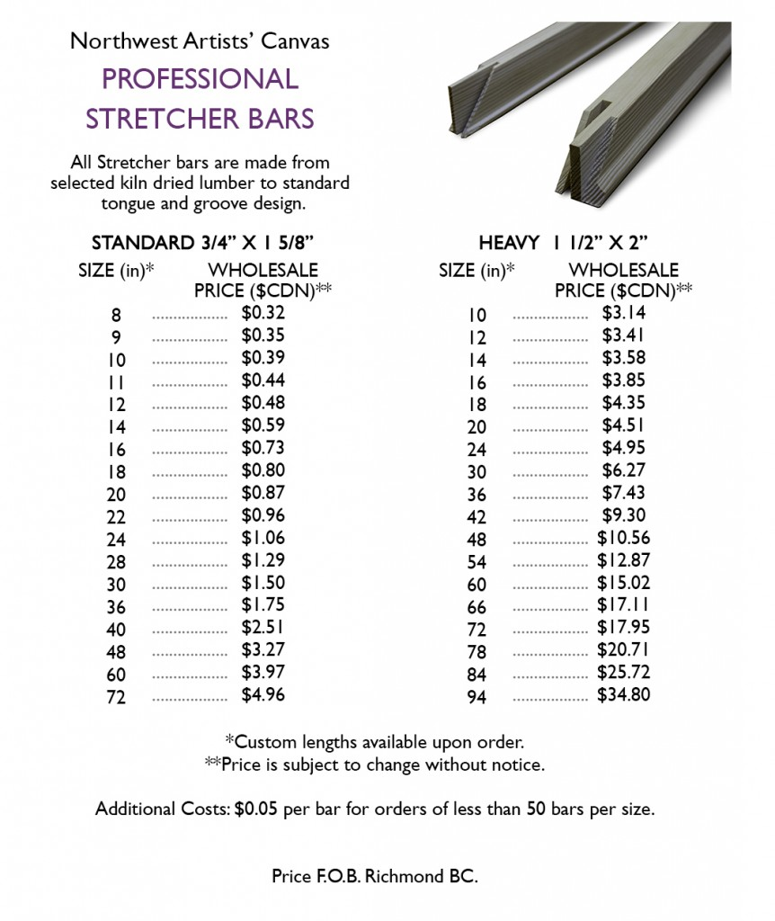 stretcher bars price list